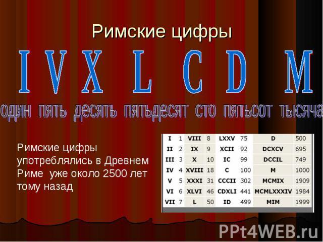 Римские цифры I V X L C D M один пять десять пятьдесят сто пятьсот тысяча Римские цифры употреблялись в Древнем Риме уже около 2500 лет тому назад