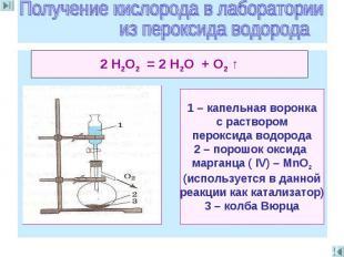 Получение кислорода в лаборатории из пероксида водорода 2 Н2O2 = 2 Н2O + O2 ↑ 1