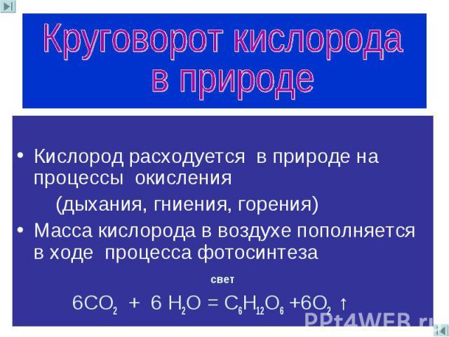 Круговорот кислорода в природе Кислород расходуется в природе на процессы окисления (дыхания, гниения, горения)Масса кислорода в воздухе пополняется в ходе процесса фотосинтеза свет 6СО2 + 6 Н2О = С6Н12О6 +6О2 ↑