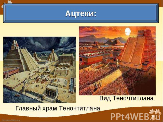 Ацтеки: Главный храм Теночтитлана Вид Теночтитлана