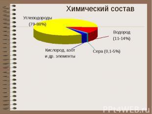 Химический состав Углеводороды(79-88%) Кислород, азоти др. элементы Водород(11-1