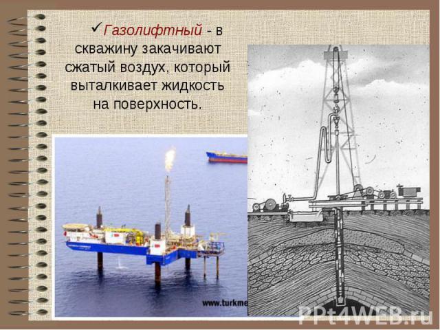 Газолифтный - в скважину закачивают сжатый воздух, который выталкивает жидкость на поверхность.