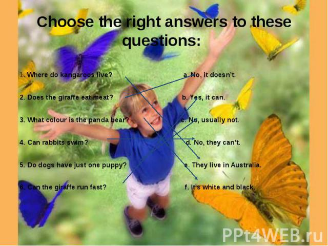 Choose the right answers to these questions: 1. Where do kangaroos live? a. No, it doesn't. 2. Does the giraffe eat meat? b. Yes, it can.3. What colour is the panda bear? c. No, usually not. 4. Can rabbits swim? d. No, they can't. 5. Do dogs have ju…