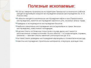 Полезные ископаемые: В 100 км севернее Архангельска на территории Приморского и