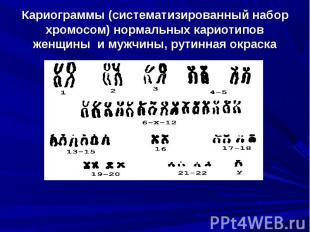 Кариограммы (систематизированный набор хромосом) нормальных кариотипов женщины и