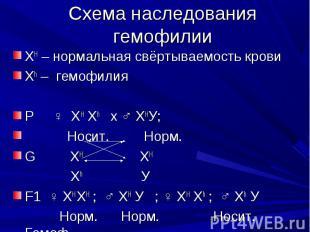Схема наследования гемофилии ХH – нормальная свёртываемость кровиХh – гемофилияР