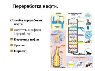 Переработка нефти. Способы переработки нефти:Подготовка нефти к переработкеПерег