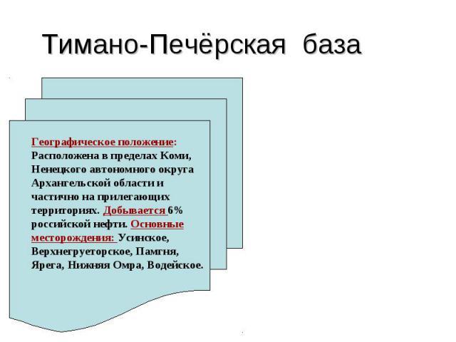 Тимано-Печёрская база Географическое положение: Расположена в пределах Коми, Ненецкого автономного округа Архангельской области и частично на прилегающих территориях. Добывается 6% российской нефти. Основные месторождения: Усинское, Верхнегруеторско…