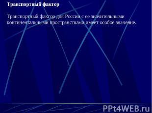 Транспортный факторТранспортный фактор для России с ее значительными континентал