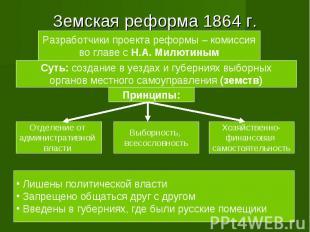 Земская реформа 1864 г. Разработчики проекта реформы – комиссияво главе с Н.А. М