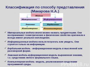 Классификация по способу представления (Макарова Н.А.) Материальные модели-иначе