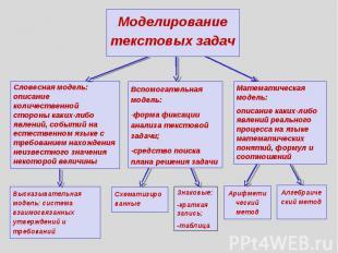 Моделирование текстовых задач Словесная модель: описание количественной стороны