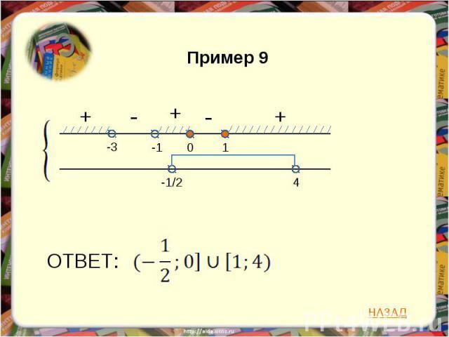 Пример 9 ОТВЕТ: