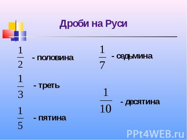 Дроби на Руси - половина - седьмина - треть - пятина - десятина