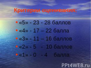 Критерии оценивания: «5» - 23 - 28 баллов«4» - 17 – 22 балла«3» - 11 – 16 баллов