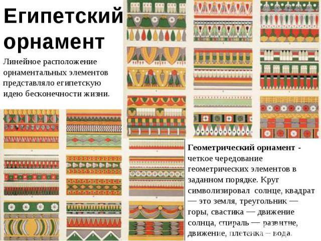 Египетский орнамент Линейное расположение орнаментальных элементов представляло египетскую идею бесконечности жизни. Геометрический орнамент - четкое чередование геометрических элементов в заданном порядке. Круг символизировал солнце, квадрат — это …