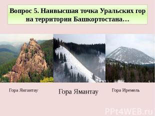 Вопрос 5. Наивысшая точка Уральских гор на территории Башкортостана…Гора Иремель