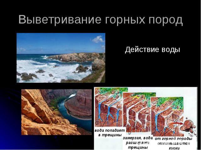Выветривание горных пород Действие воды