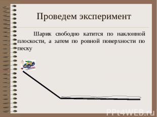Проведем эксперимент Шарик свободно катится по наклонной плоскости, а затем по р
