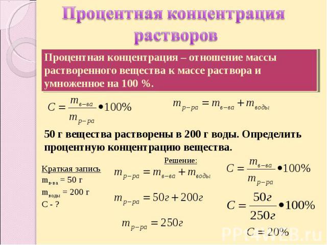Процентная концентрация растворов Процентная концентрация – отношение массы растворенного вещества к массе раствора и умноженное на 100 %.50 г вещества растворены в 200 г воды. Определить процентную концентрацию вещества. Краткая записьmв-ва = 50 гm…