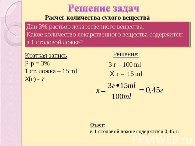 Решение задач Расчет количества сухого вещества Дан 3% раствор лекарственного вещества.Какое количество лекарственного вещества содержится:в 1 столовой ложке? Краткая записьР-р = 3%1 ст. ложка – 15 mlХ(г) - ? Ответ: в 1 столовой ложке содержится 0,45 г.