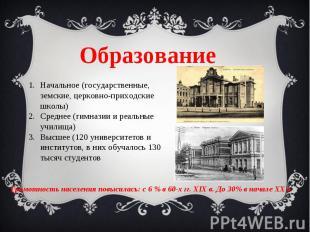 Образование Начальное (государственные, земские, церковно-приходские школы)Средн