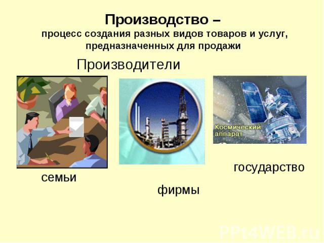 Производство – процесс создания разных видов товаров и услуг, предназначенных для продажи Производители семьи фирмы государство