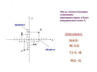 Числа, соответствующие основаниям перпендикуляров, и будут координатами точки А.