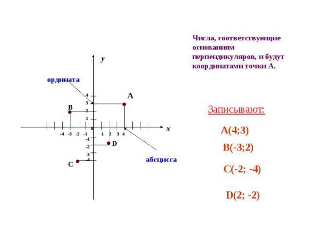 Числа, соответствующие основаниям перпендикуляров, и будут координатами точки А. Записывают: