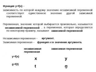 Функция у=f(x) – зависимость по которой каждому значению независимой переменной