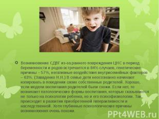 Возникновение СДВГ из-за раннего повреждения ЦНС в период беременности и родов в