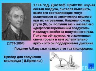 1774 год. Джозеф Пристли, изучая состав воздуха, пытался выяснить, какие его сос