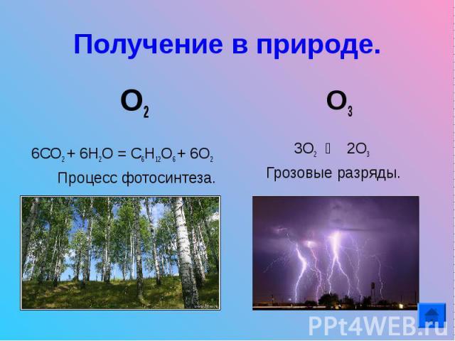 Получение в природе. О26СО2 + 6Н2О = С6Н12О6 + 6О2 Процесс фотосинтеза. О3 3О2 ⇄ 2О3 Грозовые разряды.