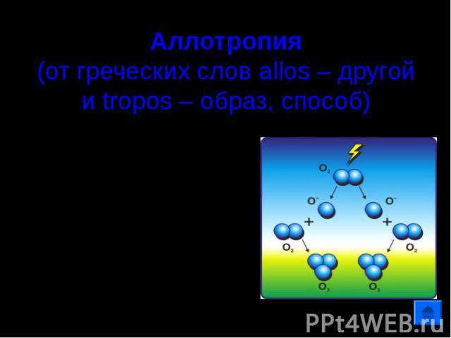 Аллотропия(от греческих слов allos – другой и tropos – образ, способ) Способность атомов одного элемента образовывать несколько простых веществ.