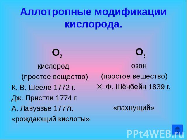 Аллотропные модификации кислорода. О2 кислород (простое вещество)К. В. Шееле 1772 г.Дж. Пристли 1774 г.А. Лавуазье 1777г. «рождающий кислоты» О3 озон (простое вещество)Х. Ф. Шёнбейн 1839 г. «пахнущий»