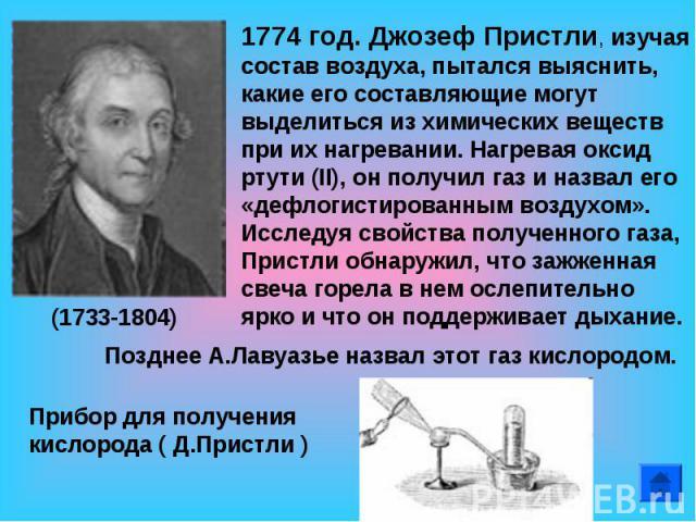 1774 год. Джозеф Пристли, изучая состав воздуха, пытался выяснить, какие его составляющие могут выделиться из химических веществ при их нагревании. Нагревая оксид ртути (II), он получил газ и назвал его «дефлогистированным воздухом». Исследуя свойст…