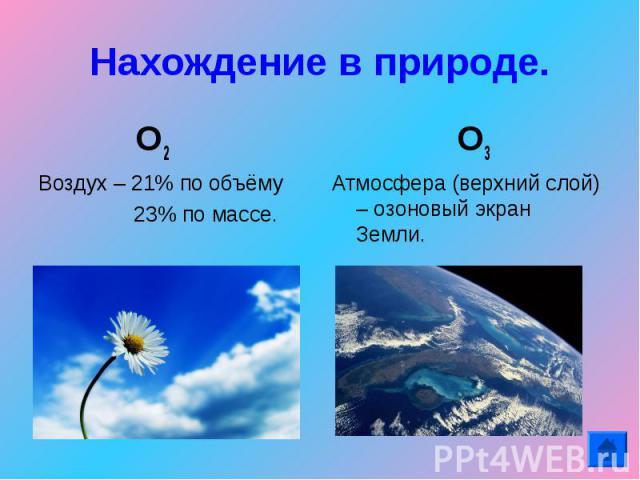 Нахождение в природе. О2 Воздух – 21% по объёму 23% по массе. О3Атмосфера (верхний слой) – озоновый экран Земли.