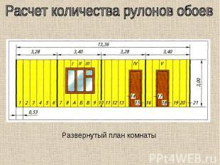 Расчет количества рулонов обоев Развернутый план комнаты