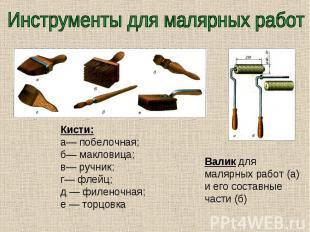 Инструменты для малярных работ Кисти: а— побелочная; б— макловица; в— ручник; г—