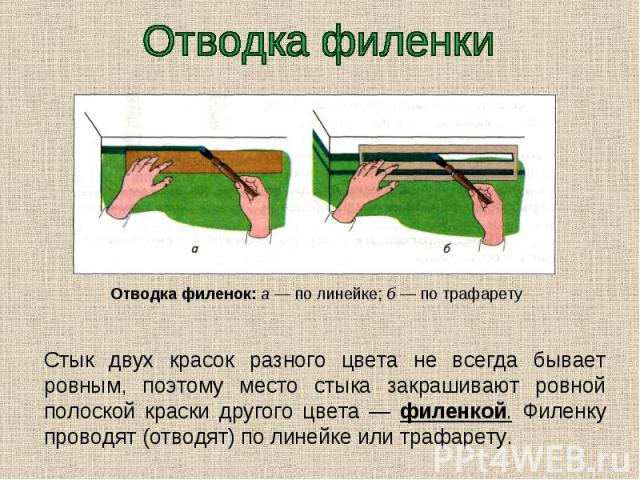 Отводка филенки Стык двух красок разного цвета не всегда бывает ровным, поэтому место стыка закрашивают ровной полоской краски другого цвета — филенкой. Филенку проводят (отводят) по линейке или трафарету.