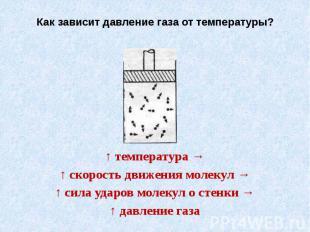 Как зависит давление газа от температуры?↑ температура →↑ скорость движения моле