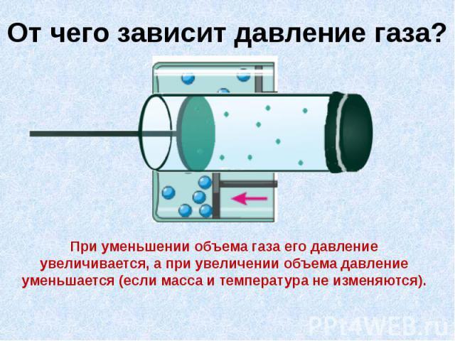 От чего зависит давление газа?При уменьшении объема газа его давление увеличивается, а при увеличении объема давление уменьшается (если масса и температура не изменяются).