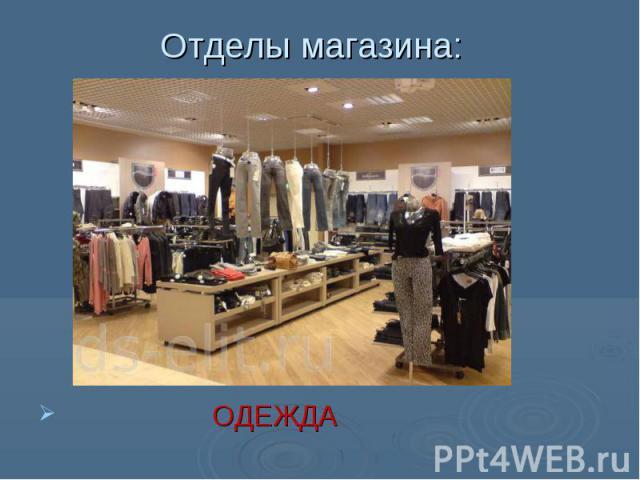 Отделы магазина: ОДЕЖДА
