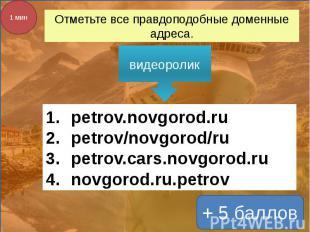 Отметьте все правдоподобные доменные адреса. видеоролик petrov.novgorod.rupetrov