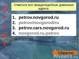 Отметьте все правдоподобные доменные адреса. petrov.novgorod.rupetrov/novgorod/r