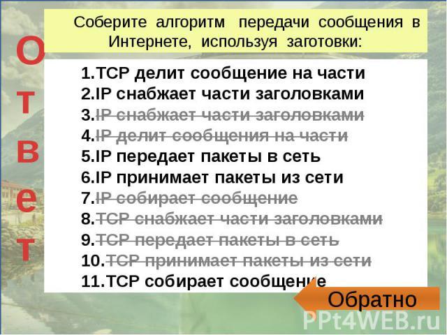 Соберите алгоритм передачи сообщения в Интернете, используя заготовки: TCP делит сообщение на частиIP снабжает части заголовкамиIP снабжает части заголовкамиIP делит сообщения на частиIP передает пакеты в сетьIP принимает пакеты из сетиIP собирает с…