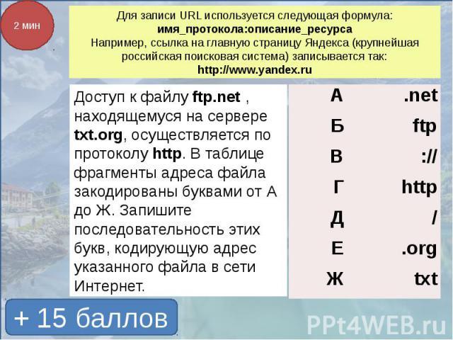 Для записи URL используется следующая формула:имя_протокола:описание_ресурсаНапример, ссылка на главную страницу Яндекса (крупнейшая российская поисковая система) записывается так:http://www.yandex.ru Доступ к файлу ftp.net , находящемуся на сервере…