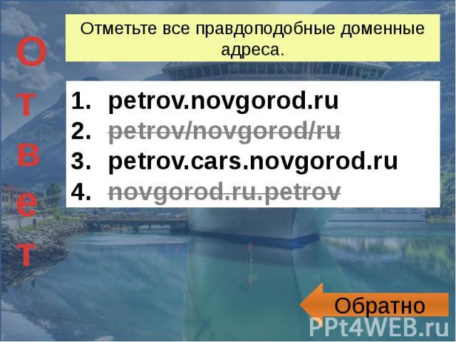 Отметьте все правдоподобные доменные адреса. petrov.novgorod.rupetrov/novgorod/rupetrov.cars.novgorod.runovgorod.ru.petrov