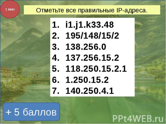 Отметьте все правильные IP-адреса. i1.j1.k33.48195/148/15/2138.256.0137.256.15.2118.250.15.2.11.250.15.2140.250.4.1