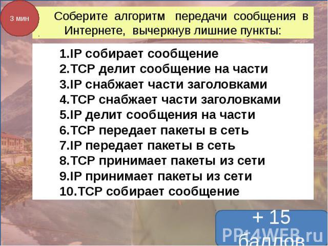 Соберите алгоритм передачи сообщения в Интернете, вычеркнув лишние пункты: IP собирает сообщениеTCP делит сообщение на частиIP снабжает части заголовкамиTCP снабжает части заголовкамиIP делит сообщения на частиTCP передает пакеты в сетьIP передает п…